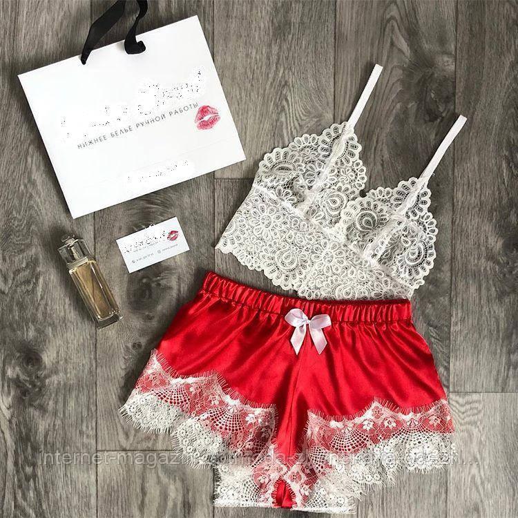 Кружевная женская пижама, атлас, французское кружево, размер 44-46, 40-42, 48-50, красный