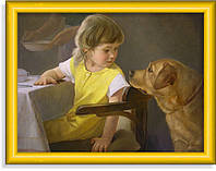 Репродукция  современной картины  «За обедом»
