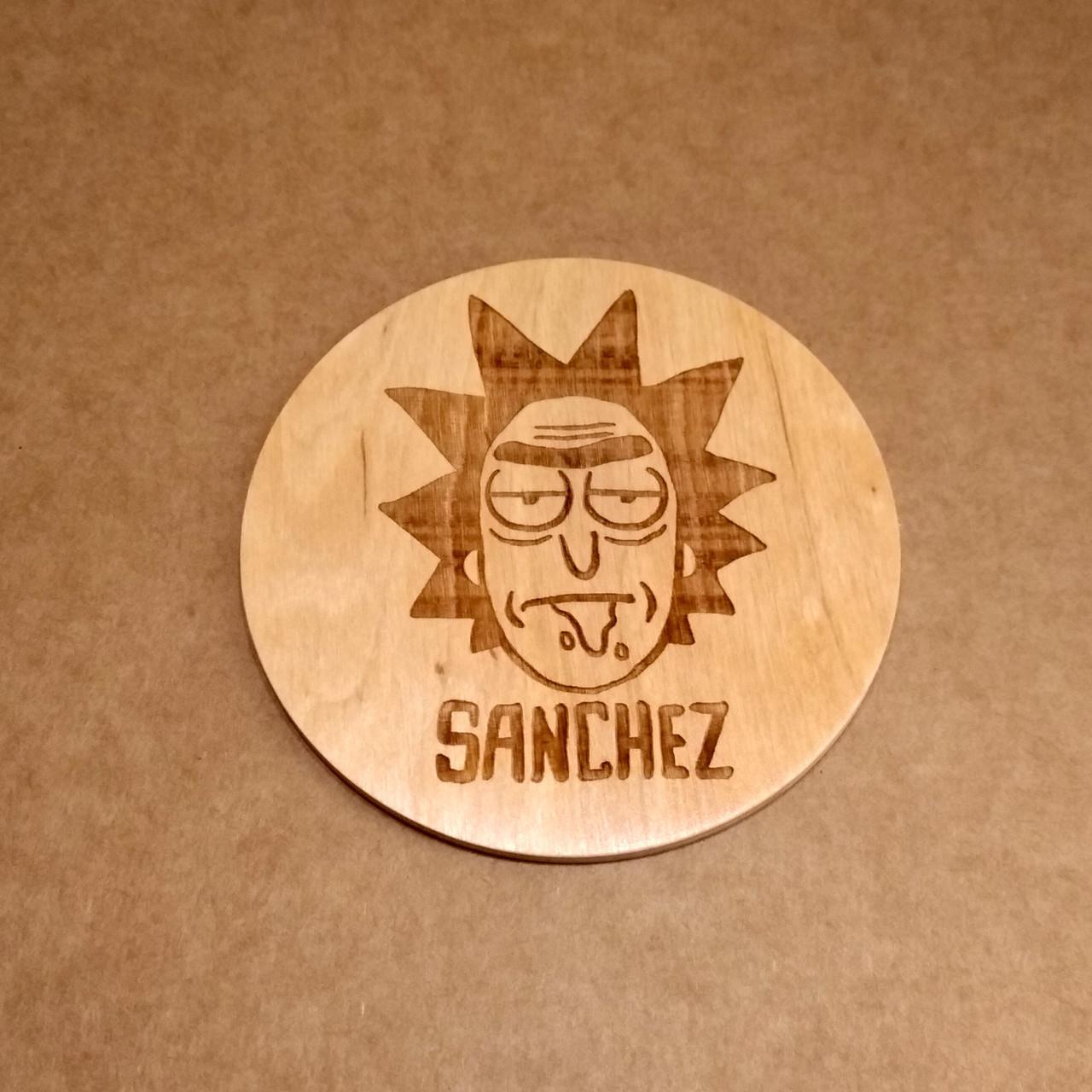Костер деревянный. Подставка под кружку Рик Санчез.