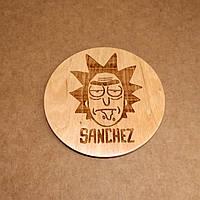 Костер деревянный. Подставка под кружку Рик Санчез., фото 1