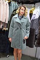 Стильное меховое пальто из натурального меха астроган. шуба