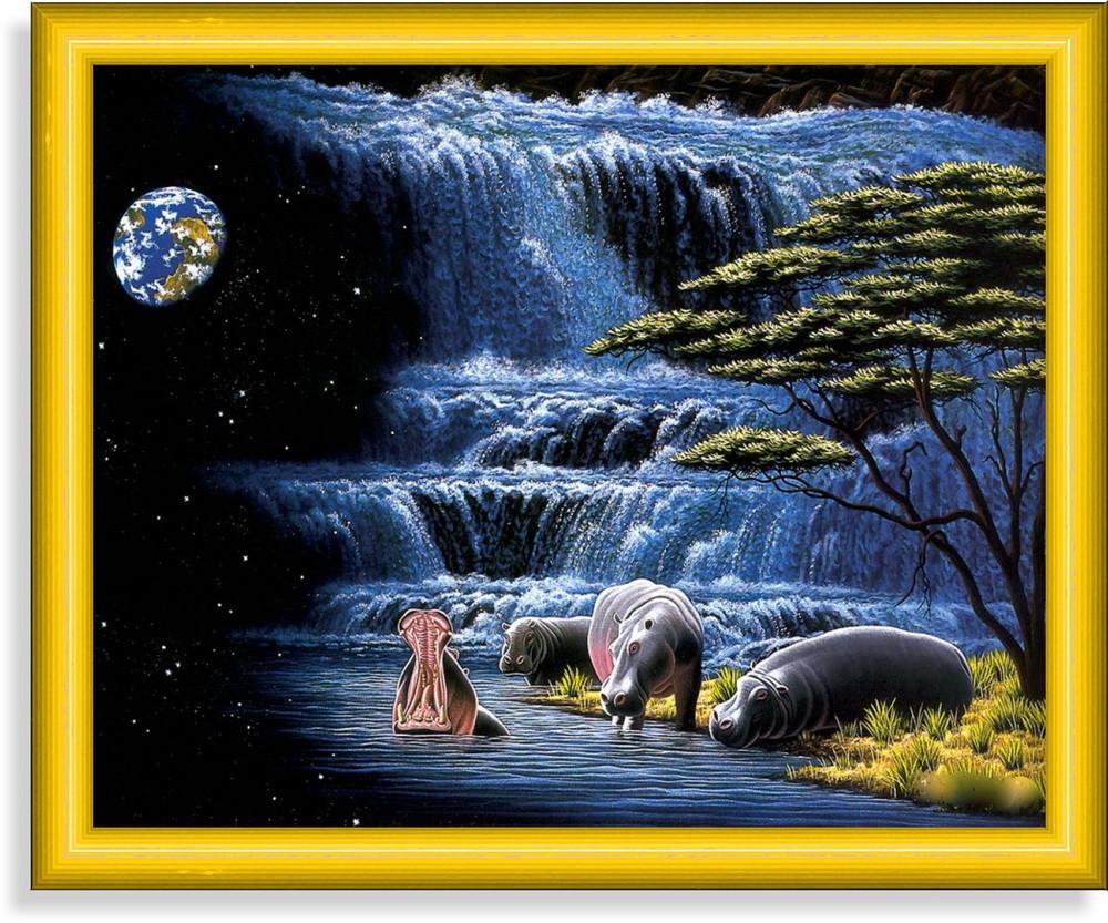 Репродукция  современной картины  «Гиппопотамы возле водопада»