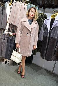 Розовое меховое пальто из астраган.шуба английский воротник натуральный мех