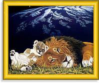 Репродукция  современной картины  «Львы отдыхают»