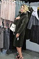 Удлиненное меховое  пальто  с капюшоном.Мех Астроган.Новинка