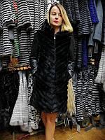 Норковое зимнее пальто с кожаными рукавами и капюшоном, шуба 2в1, шубка, норочка