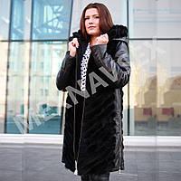 Норковое зимнее пальто с кожаными рукавами и капюшоном