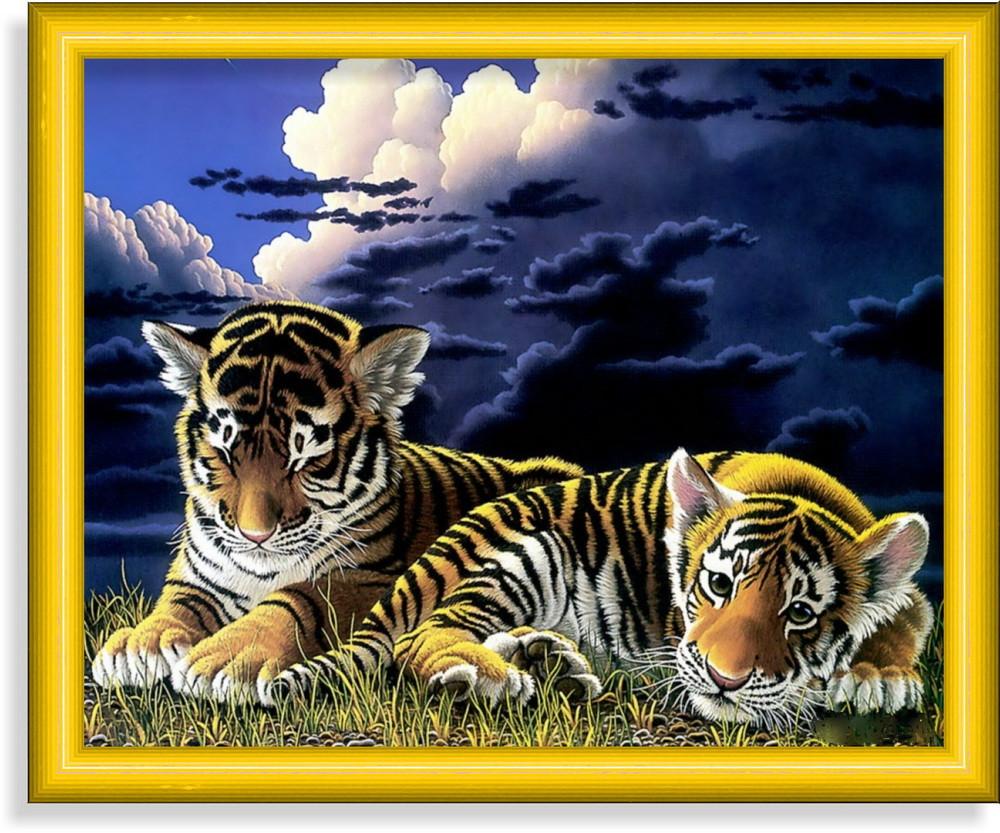 Репродукция  современной картины  «Тигрята»