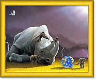 Репродукция  современной картины  «Носорог и слонята»