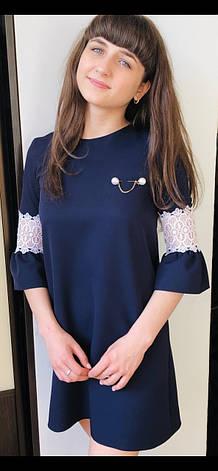 Школьное платье для девочки р.122-146 синее , фото 2