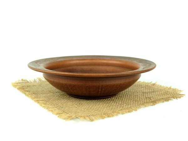 Тарелка глубокая для первого 230 мм из красной глины