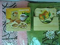 Подставка под горячее Бамбук 10*10 см 5 штук в коробочке