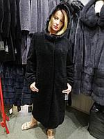 Зимнее пальто из астрагана, меховое пальто с капюшоном, отделка норка