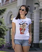 Женская футболка с модным принтом baby mous , фото 1