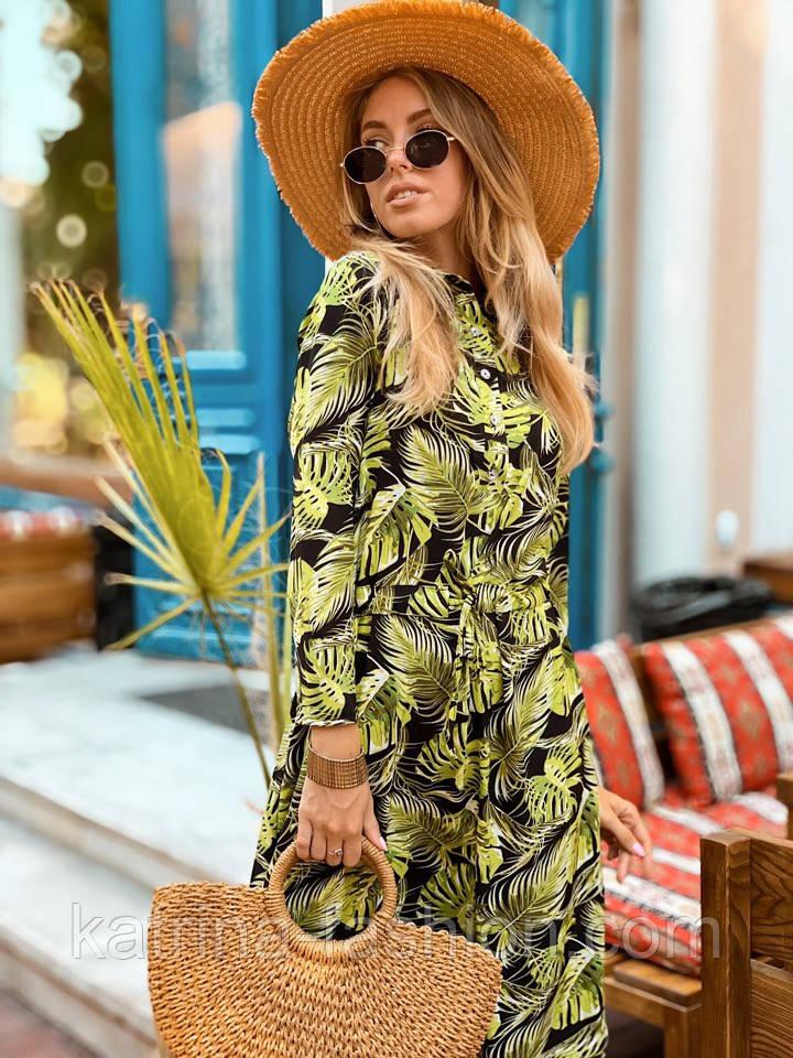 Женское легкое платье с растительным принтом
