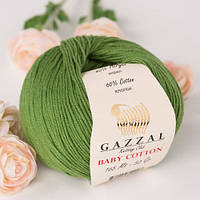 Gazzal Бебі Котон 50г/165м 3449 травянная зелень