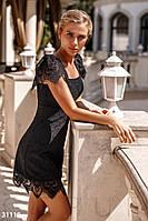 Летнее облегающее кружевное платье-мини черное