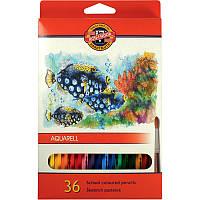 """Карандаши цветные акварельные, 36 цветов, MONDELUZ """"Рыбки"""", KOH-I-NOOR"""