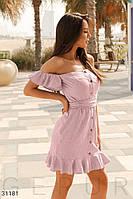 Легкое короткое летнее платье с воланами пудровое