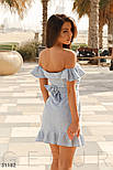 Легкое короткое летнее платье с воланами голубое, фото 3