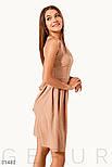 Расклешенное платье-мини в трендовый принт горох бежевое, фото 2