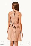 Расклешенное платье-мини в трендовый принт горох бежевое, фото 3
