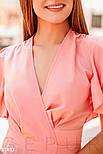 Короткое летнее платье на запах с оборками персиковое, фото 4