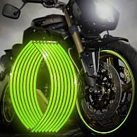 Светоотражающие полосы на диск зеленые кислотные, фото 1