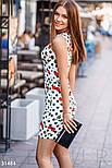 Короткий приталені плаття з бавовни біле, фото 2