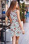 Короткий приталені плаття з бавовни біле, фото 3