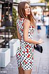Короткий приталені плаття з бавовни біле, фото 4