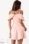 Летнее платье с воздушным воланом на тонких бретельках пудровое, фото 3