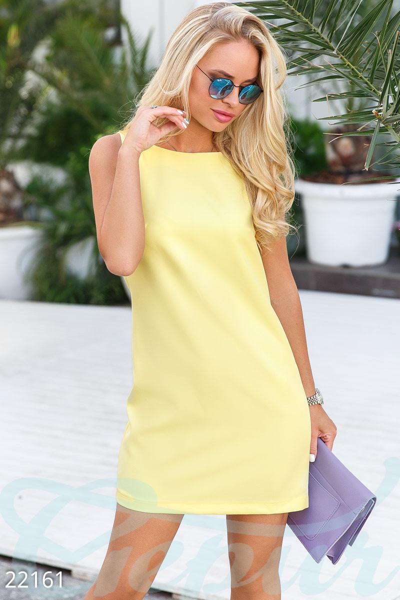 Классическое платье-трапеция желтое