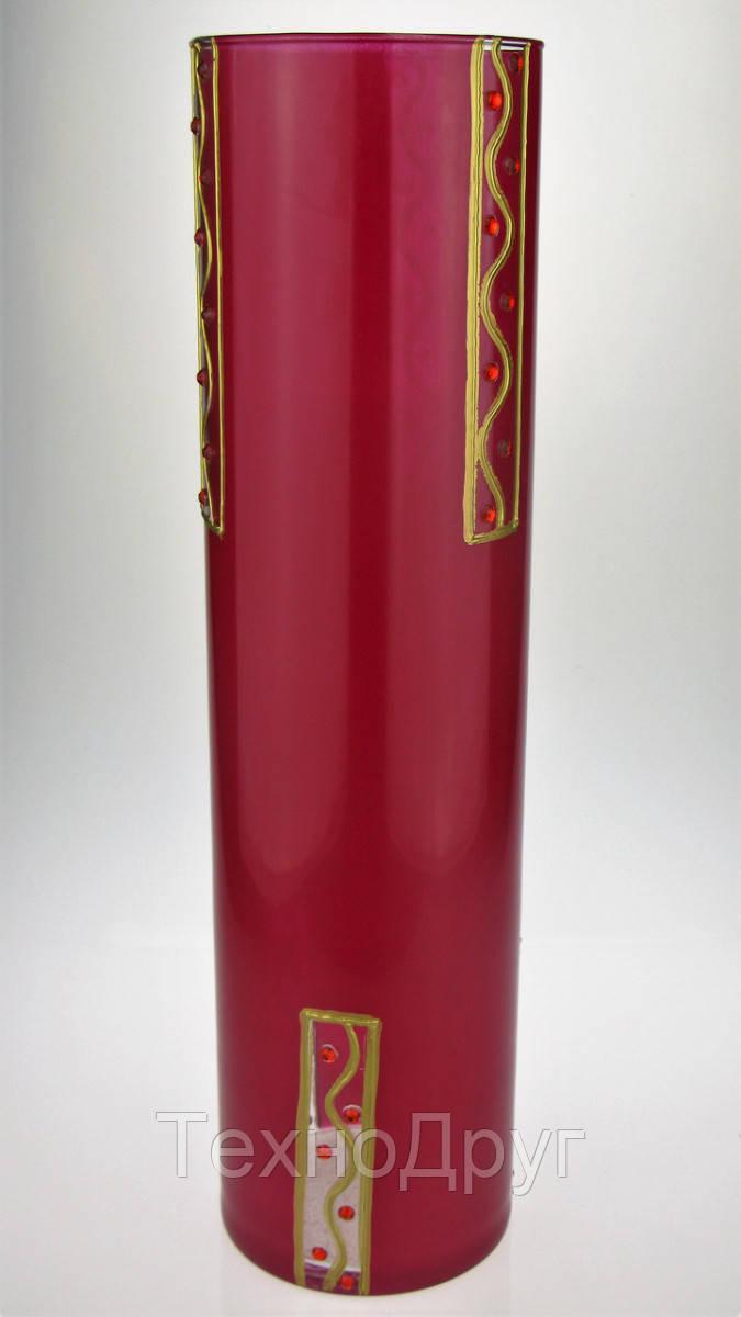 Ваза стеклянная ручной работы Красный узор (Цилиндр узкий средний) ZA-1107
