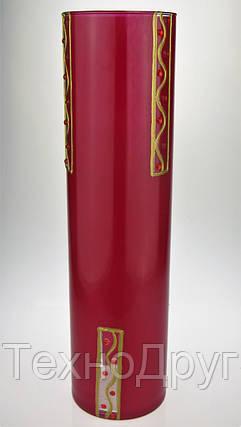 Ваза стеклянная ручной работы Красный узор (Цилиндр узкий средний) ZA-1107, фото 2