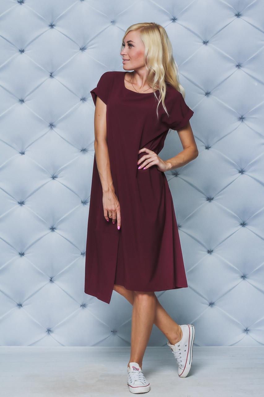 Платье женское летнее миди бордо