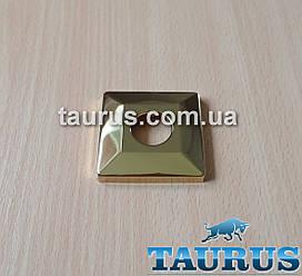 """Золотая квадратная объемная декоративная чашка CUBE 56x56 GOLD (фланец), хром, высота до 10мм; Внутр. под 1/2"""""""