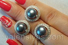 Набор серебряных украшений с жемчугом - кольцо  и серьги, фото 3