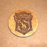 Костер деревянный. Подставка под кружку Слизерин. Морилка на акриловой основе