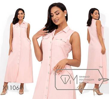 Молодёжное платье в пол из льна больших размеров 48-54 , фото 2