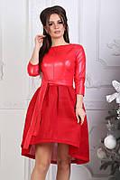 Платье женское с пышной юбкой из эко-кожи, красное