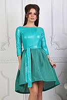 Платье женское из эко-кожи с пышной юбкой, мята