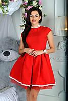 Платье женское пышное с фатиновой юбкой, красное