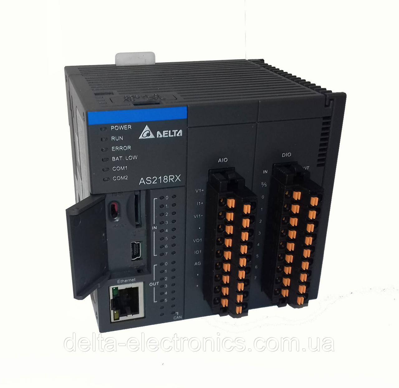 Базовый модуль контроллера серии AS200 Delta Electronics, 8DI/6DO релейные выходы, 2AI/2AO, Ethernet