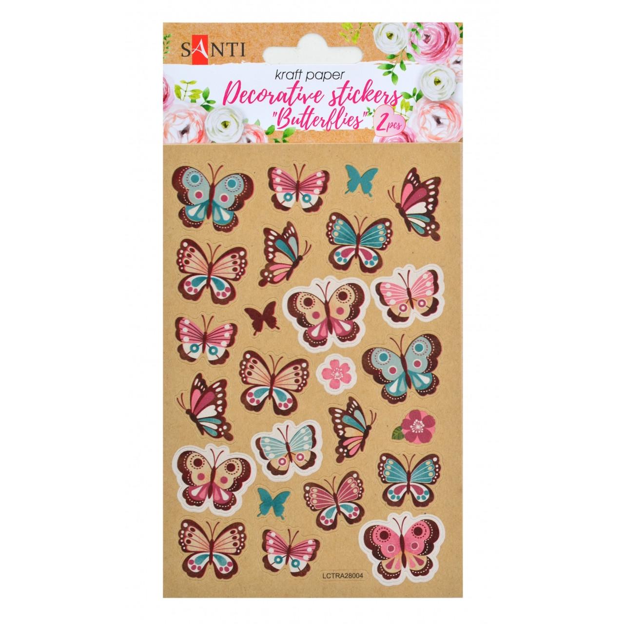 """Набір декоративних  стікерів на крафтовому  папері """"Метелики"""". 2 шт. в уп. 100 * 150 мм.. Santi"""