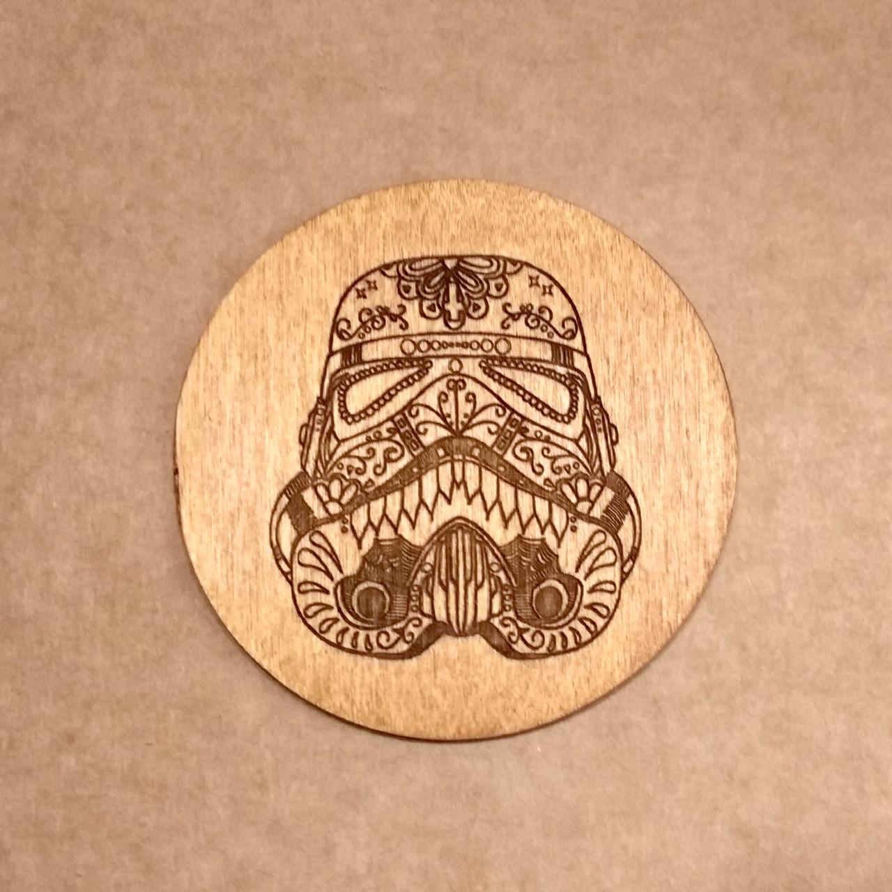 Подставка под кружку. Костер с лазерной гравировкой. Костер деревянный. Подставка под кружку штурмовик.