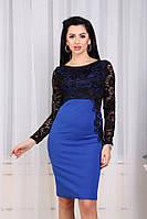 Женское платье с гипюровыми рукавами и розой на боку, синее