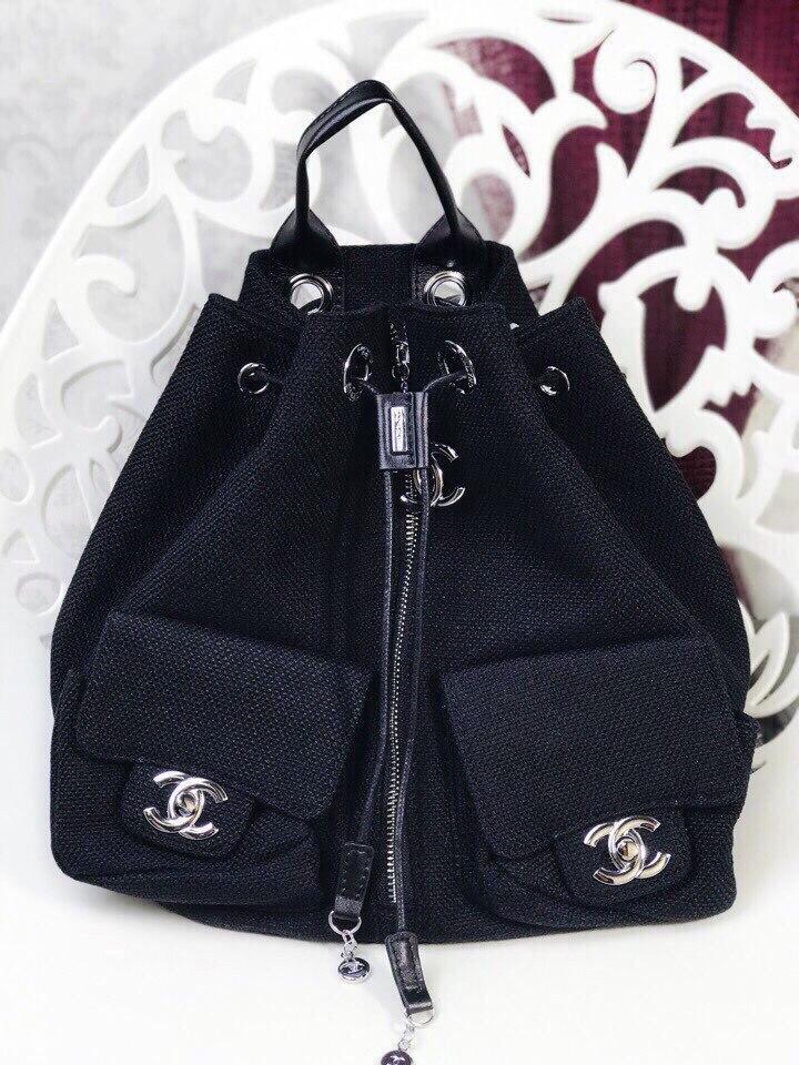 Рюкзак в стиле Шанельь комбинированный кожа люкс змейка