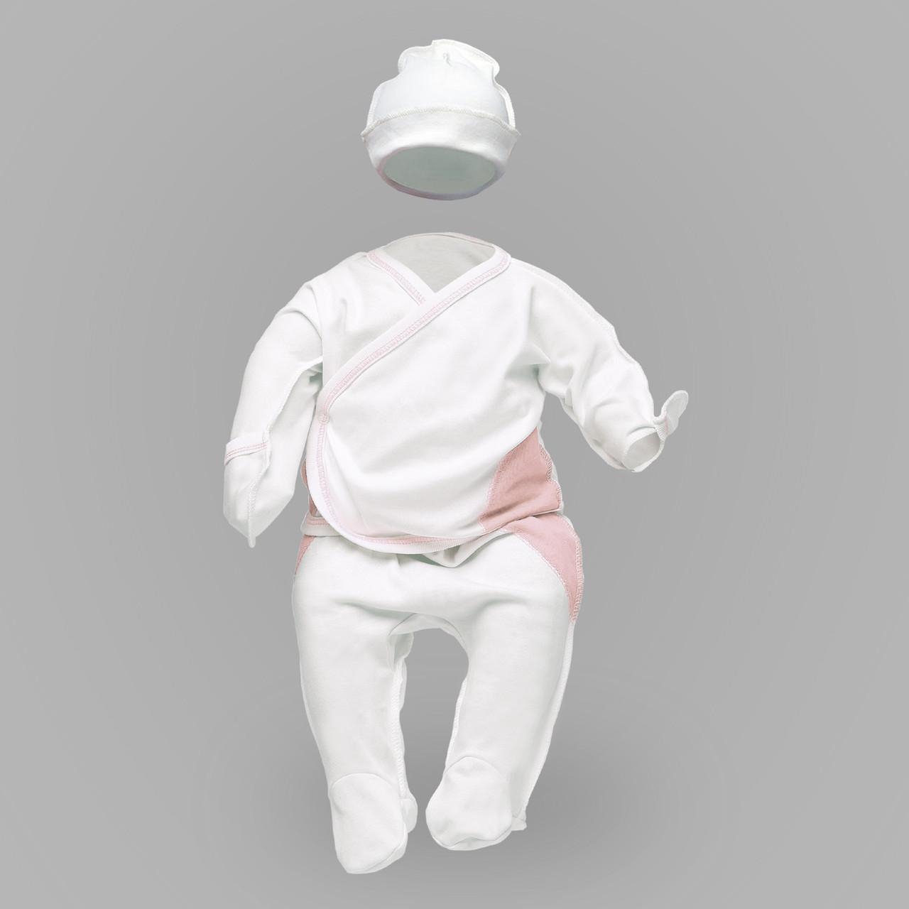 Комплект для новорожденных с розовыми подрезами: распашонка, ползунки и шапка | Комплект для новонароджених