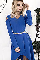 Платье женское с шлейфом и вырезами на плечах, синее